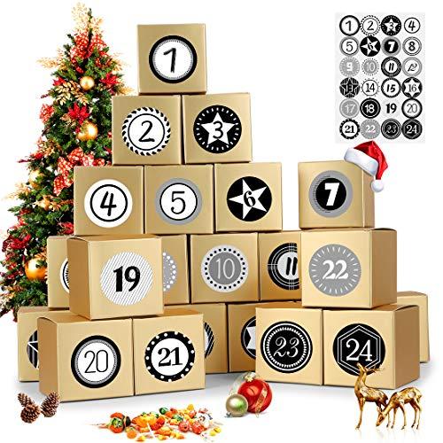 Calendario de Adviento, 24 Calendario Adviento, con Adhesivos Digitales de Adviento, 2020 Bolsa para Calendario de Adviento, DIY Bolsa de Regalo Navidad, Rellenar Calendario de Adviento (dorad