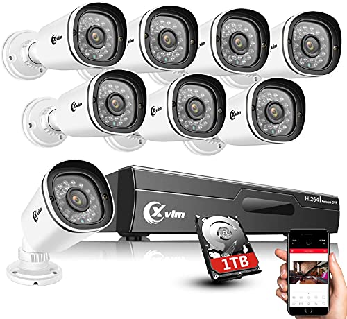 XVIM 8CH 1080P Home Security Camera System, Outdoor IP66 Waterproof CCTV Recorder 8pcs HD 1920TVL Upgrade Home Surveillance Cameras with Night Vision, Easy Remote Access 1TB Hard Drive Included