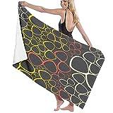 Toallas Baño Ultra Suave de Microfibra de Gran tamaño Manta de Secado rápido Puntos Coloridos Decorativos en Negro Toalla Playa Sábana de Viaje Piscina Camping Deportes Personalizados