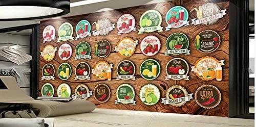 Muurschildering Behang 3D Nostalgische 3D Fruit Supermarkt Label Tooling Achtergrond Muur-300Cmx210Cm