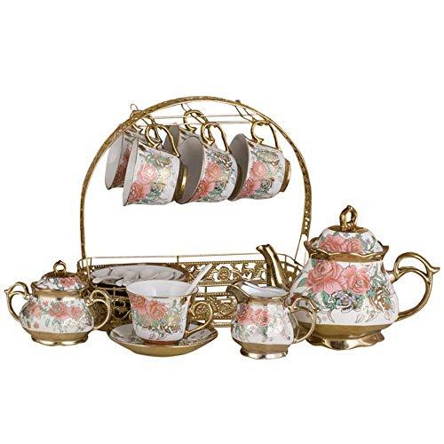 NOSSON Juego de té europeo elegante para té y café, diseño de rosas de porcelana esmaltada, juego de té retro europeo (color: rojo, tamaño: juego de 15)