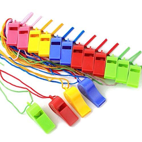 JZZJ 40 Piezas Silbatos de Plástico con Cordón para Fiesta Deportes, 5 Colores