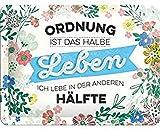 Nostalgic-Art Cartel de Chapa Retro Ordnung ist Das halbe Leben – Idea de Regalo para los Fans de la Nostalgia, metálico, Diseño Vintage, 15 x 20 cm