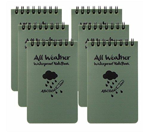 Blocco note tascabile All Weather, impermeabile, colore verde militare, confezione da 6 JASE Army Green