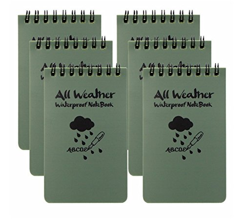 Blocco note tascabile All Weather, impermeabile, colore verde militare, confezione da 6  JASE Army Green