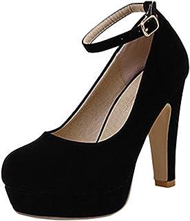 596fc8456ebcdb Scothen Femme Escarpins Bride Cheville Sexy Talon Aiguille Plateforme Epais  Fermeture Lacets Chaussures Club Soiree Talon