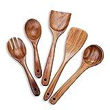 Beauty Kate Juego de utensilios de cocina de madera, 5 utensilios de cocina, espátulas y cucharas antiadherentes, 100% hechos a mano por madera de teca natural