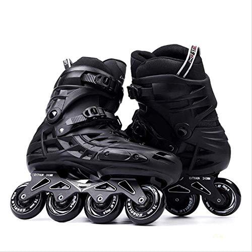 LAZ Erwachsenen-Roller Skates Turnschuhe Fußlänge Inline Slalom Skating Große Füße 12.5 Schwarz (Größe : 4)