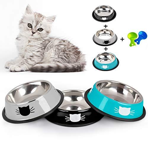 Dorakitten Futternapf Katze, 3 Stück Edelstahl rutschfest Katzen Napf Set Katzennapf Futterschüssel mit 2 Haustier Essenslöffel Katze Schüssel