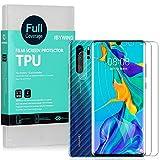 Ibywind Protector de Pantalla para Huawei P30 Pro [2 Piezas],con Protector de Lente de Cámara,Atrás Pegatina Protectora Fibra de Carbono,[Admite la función de Huella Digital]