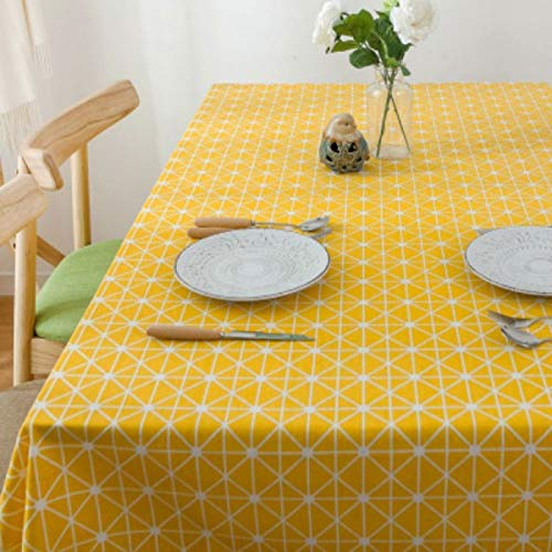 PhantasyIsland.com Small Rectangle Spliced Striped Tablecloth Cotton Linen Side Table Cloth Kitchen Living Room Decoration 140 * 250cm