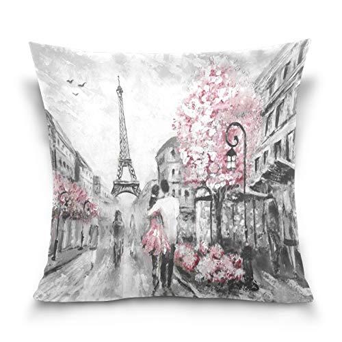 HMZXZ Funda de almohada decorativa de 45,7 x 45,7 cm de la Torre Eiffel de París, con pintura artística, funda de cojín para sofá, dormitorio, hogar, sala de estar