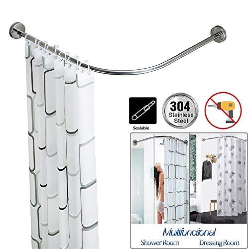 Wing Stretchable Gebogen douchegordijnstang, L-vormige douchestang verstelbaar Roestvrij stalen hoekgordijnstang voor bad bad of kledingwinkel, perforeervrij/boren