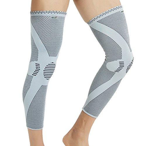 Neotech Care - Manga de compresión para rodilla y pierna (1 Par) - Tejido de punto de fibra de bambú - Material elástico y transpirable - Compresión mediana - Gris - L 🔥