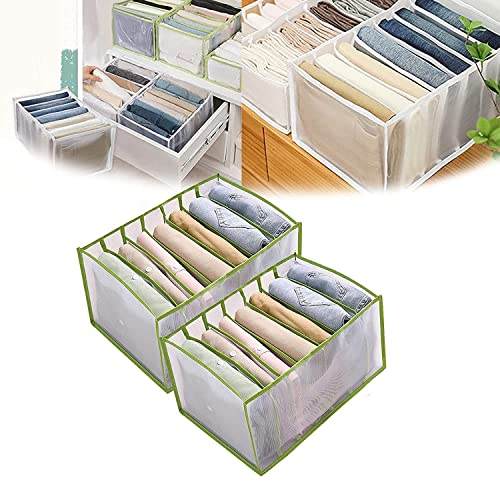 W Weiluogao 7 Grids Washable Wardrobe Clothes Organizer, Jeans Compartment Storage Box, Foldable Closet Drawer Organizer Clothes Drawer Mesh Separation Box (Green,36 * 25 * 20)