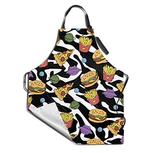 DZGlobal Adjustable Bib Apron with Pockets Durable Restaurant Aprons for Chefs Pocket Apron (Hamburg)