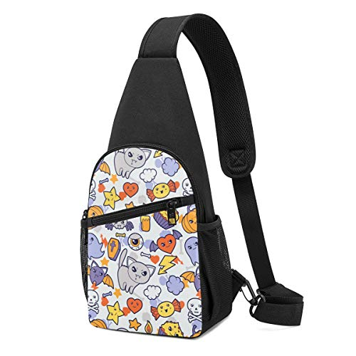 DEKIFNHG Cute Halloween Cat Cake Candy Sling Backpack Hiking Daypack Crossbody Shoulder Bag