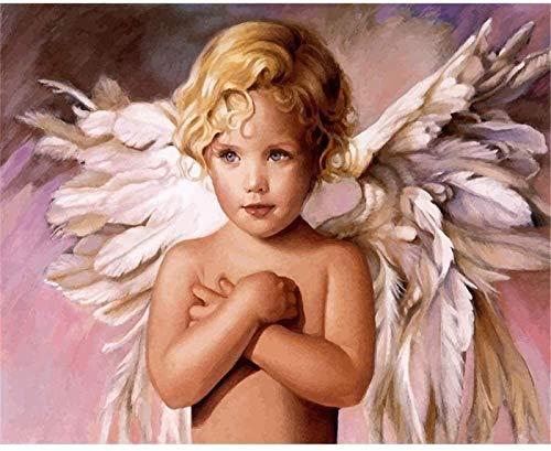Pintura de bricolaje por números arte Kits Angelito pintados a mano Dibujo lienzo Imágenes por números Decoración para el hogar Regalo 40x50cm