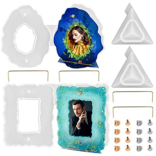 AIFUDA Moldes de marco de fotos de resina, 2 piezas de forma ovalada irregular y forma rectangular irregular de silicona para fundición de resina, para decoración del hogar, regalos hechos a m