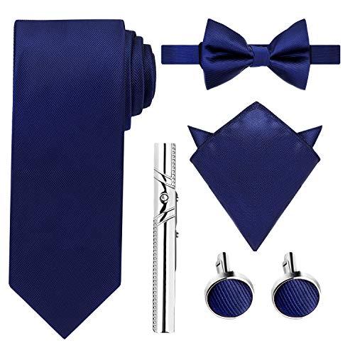 HBselect Krawatte Set inkl. Krawatte + Fliege + Einstecktuch + Manschettenknöpfe + Krawattennadel + Schachtel als Geschenkbox (Dunkel Blau)