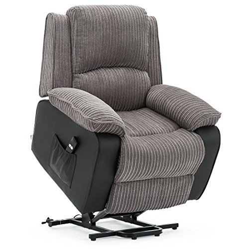 More4Homes POSTANA JUMBO CORD FABRIC RISE RECLINER ARMCHAIR ELECTRIC LIFT RISER CHAIR (Grey) (Grey)