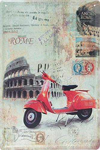 Tin speaking Fashionable Red Piaggio Vespa @ Acient Rome, Metal Iron Painting 8X12 INCH Metal Tin Sign