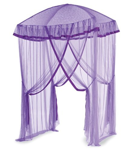 HearthSong Sparkling Lights Hanging Bed Canopy Play Tent with Interior LED Light String – Kid's Bedroom Decor - Fits Twin to Queen Sized Beds - 58 x 50 - Purple