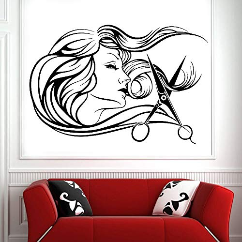Friseurwerkzeuge Schere Frau Wandaufkleber Vinyl Schönheitssalon Salon Glasfenster Wandtattoo Wohnzimmer Dekoration 42 * 28cm