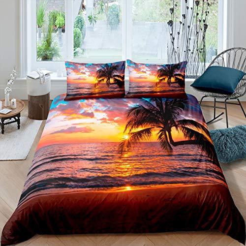 Loussiesd Juego de funda de edredón para mujer, playa y océano, para niños, adultos, niñas, elegante, paisaje de la puesta del sol del mar, juego de cama de palmera tropical