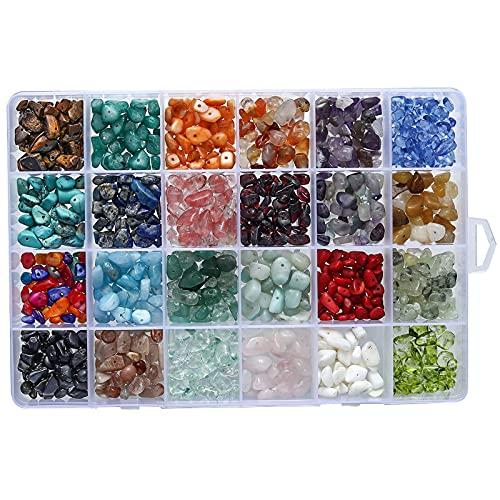 LTXDJ Juego de perlas de piedras preciosas, 24 colores, piedras preciosas naturales, 4 - 8 mm, forma natural con orificio para manualidades, collar, pulsera y pendientes
