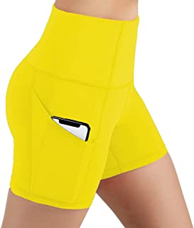 ONGASOFT Women's Workout Cycling Running Tights Yoga Shorts High Waist Shorts with Side Pockets