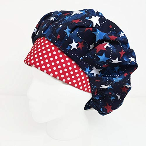 Bouffant Scrub Cap Stars and Dots Scrub Hat OR Hats Womens Scrub Caps