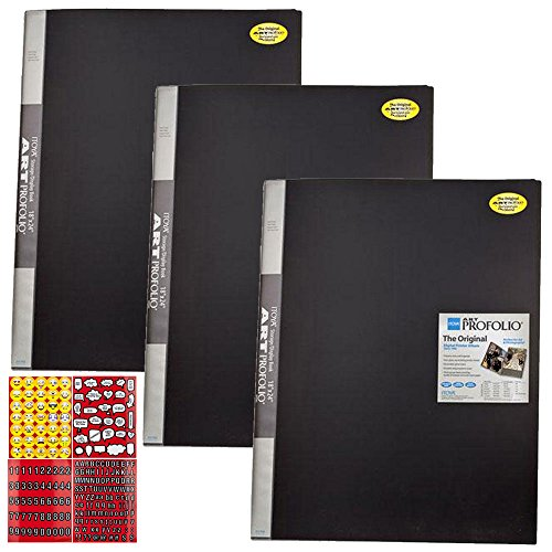 ITOYA 18 inch x 24 inch Original Art Profolio Presentation Book/Portfolio- for Art, Photography, and Documents - Pack of 3 + Scrapbooking Stickers 4 Pages of Emojis, Quotes, Letters & Numbers