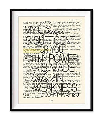 My Grace is Sufficient For You, 2 Corinthians 12:9, Christian Unframed Reproduction Art Print, Vintage Bible Verse Scripture Wall and Home Decor Poster, Inspirational Gift, 5x7 inches