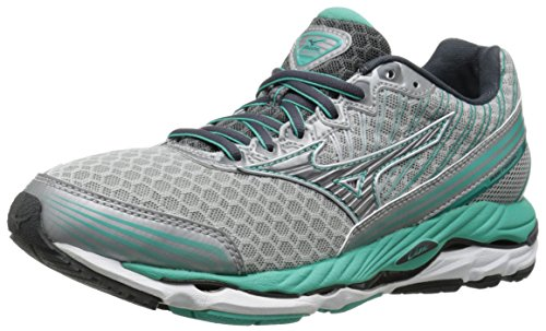 Mizuno Women's Wave Paradox 2 Running Shoe, Silver/Dark Shadow, 6 B US