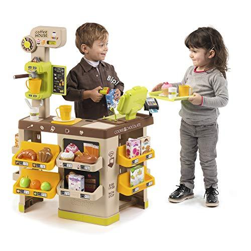 Smoby 7600350214 - Coffee House - Kaffee, Coffee-Shop mit Siebträger-Espressomaschine, Café-Flair mit viel Zubehör, für Kinder ab 3 Jahren