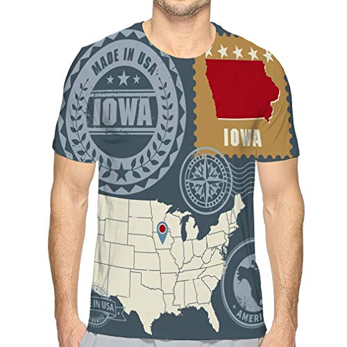 Shiyiqi7 Men's Logo Crew Neck - Camiseta Abstract Post Stamps Set Name Map Iowa USA Abstract Post Stamps Set Name Map Iowa USA Multicolor S