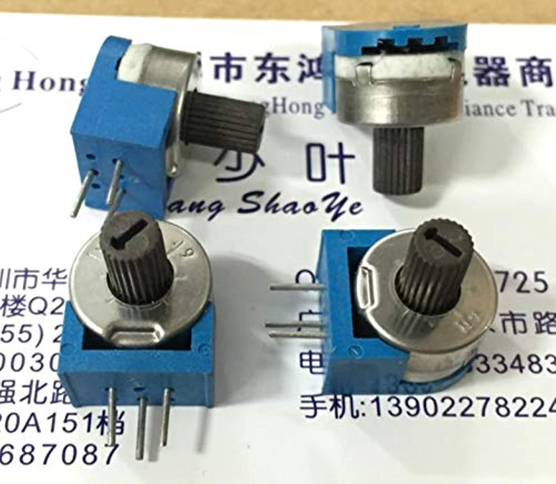 5PCS LOT RJ13 Precision Adjustable Potentiometer 1M with Handle Shaft 7MM greenical Side Adjustment