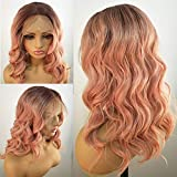 Fureya Hair Loose Wavy Wigs for Women Glueless Lace Front Wigs with Baby Hair Synthetic Heat Resistant Peach Pink Hair Replacement 16 Inch Natural Wave Lace Wig