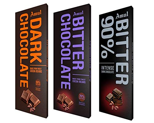 Amul Dark Chocolate: Assorted Pack of 55%,75% and 90%