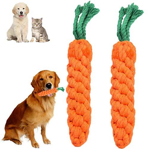 QOSE Haustier Kauspielzeug, 2 Stück Hund langweiliges Seilspielzeug, Naturbaumwolle Kauspielzeug für Welpen, Zum Reinigen der Zähne Welpens Hundespielzeug, für Welpen oder Kleinere Hunde Geeignet
