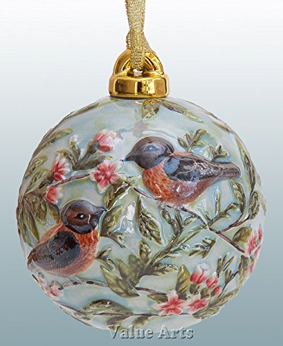 Value Arts - Hand Painted Porcelain Robin Bird Ball Ornament