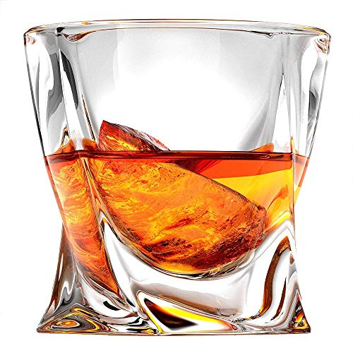 Ashcroft Twist Whiskey Glass - 10oz - Set or 2 - Modern Rocks whisky glasses - Lead Free Crystal Glasses for Scotch or Bourbon - Luxury Gift Box - The ideal old fashioned glass