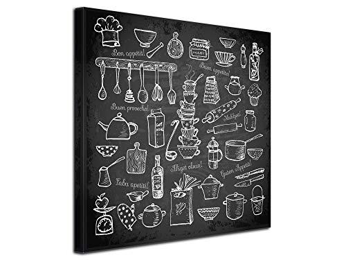 DECLINA Tableau décoratif Cuisine, Tableau Toile, Tableau déco Murale,Cadre déco Cuisine Bon Appétit 80x80 cm