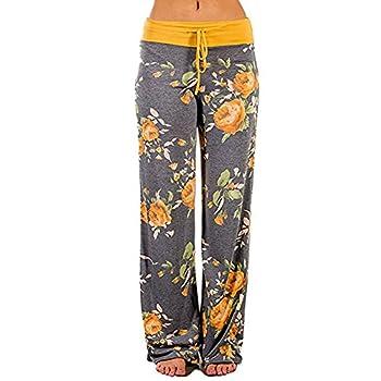 Women Pants Neartime Print Loose Casual Pants American Flag Drawstring Wide Leggings  XL Yellow