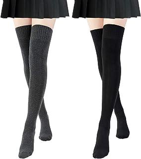 Chalier, 2 Pares de Calcetines Hasta la Rodilla de Algodón para Mujer, Calcetines Hasta la Rodilla Negros de Punto liso Casual