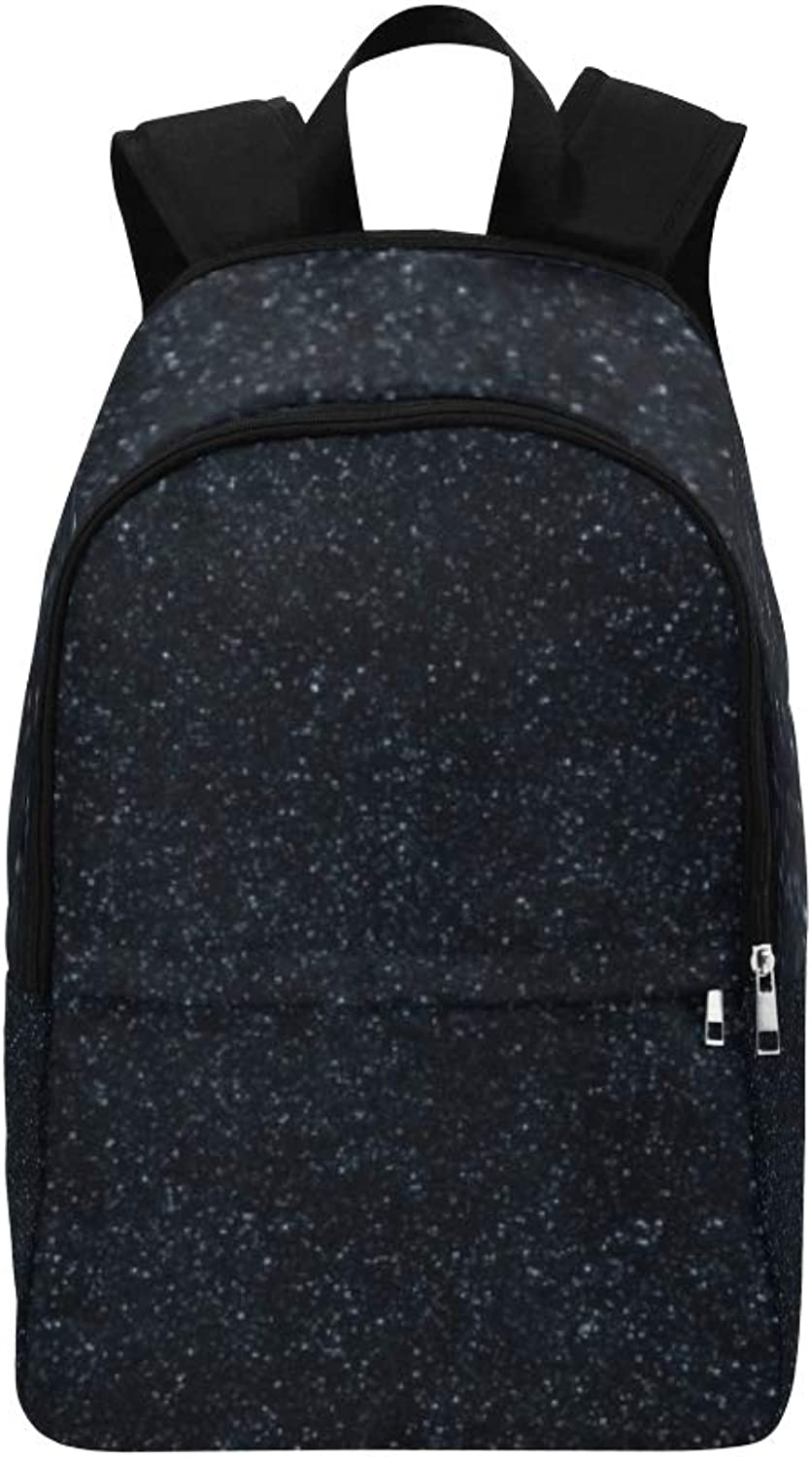 Black Glitter Texture Christmas Abstract Casual Daypack Travel Bag College School Backpack for Mens and Women