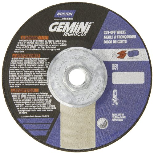 Norton Gemini Right Cut Right Angle Grinder Reinforced Abrasive Flat Cut-off Wheel, Type 27, Aluminum Oxide, 5/8