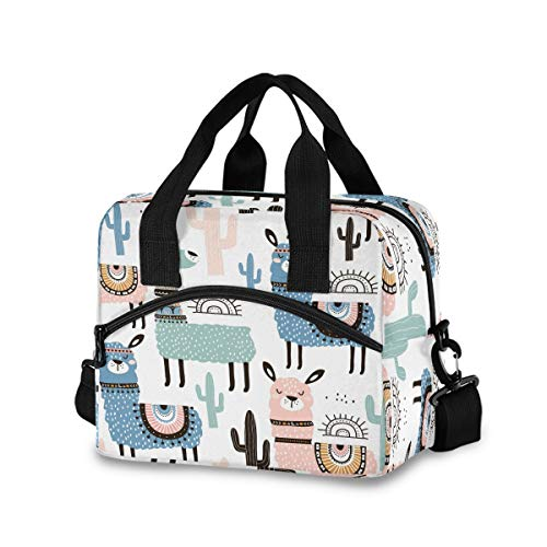 AUUXVA Reusable Insulated Cute Animal Llama Tropical Cactus Lunch Bag Cooler Tote Bag Lunch Bag Office Work Beach Picnic Hiking Lunch Box Container Organizer with Adjustable Shoulder Strap for Adults