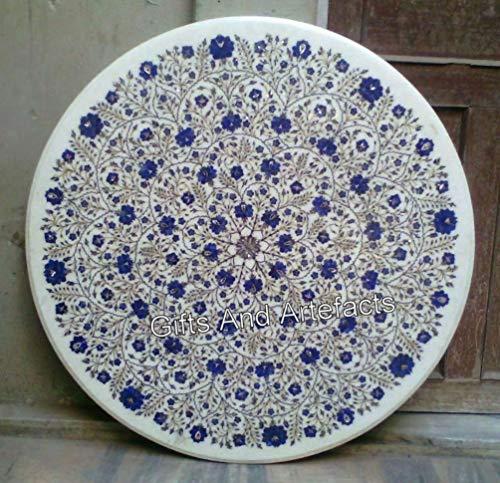"""Gifts And Artefacts Lapis Lazuli Pierre avec Pietra Dura Art Hallway Table de couloir en marbre blanc Taille 40"""""""